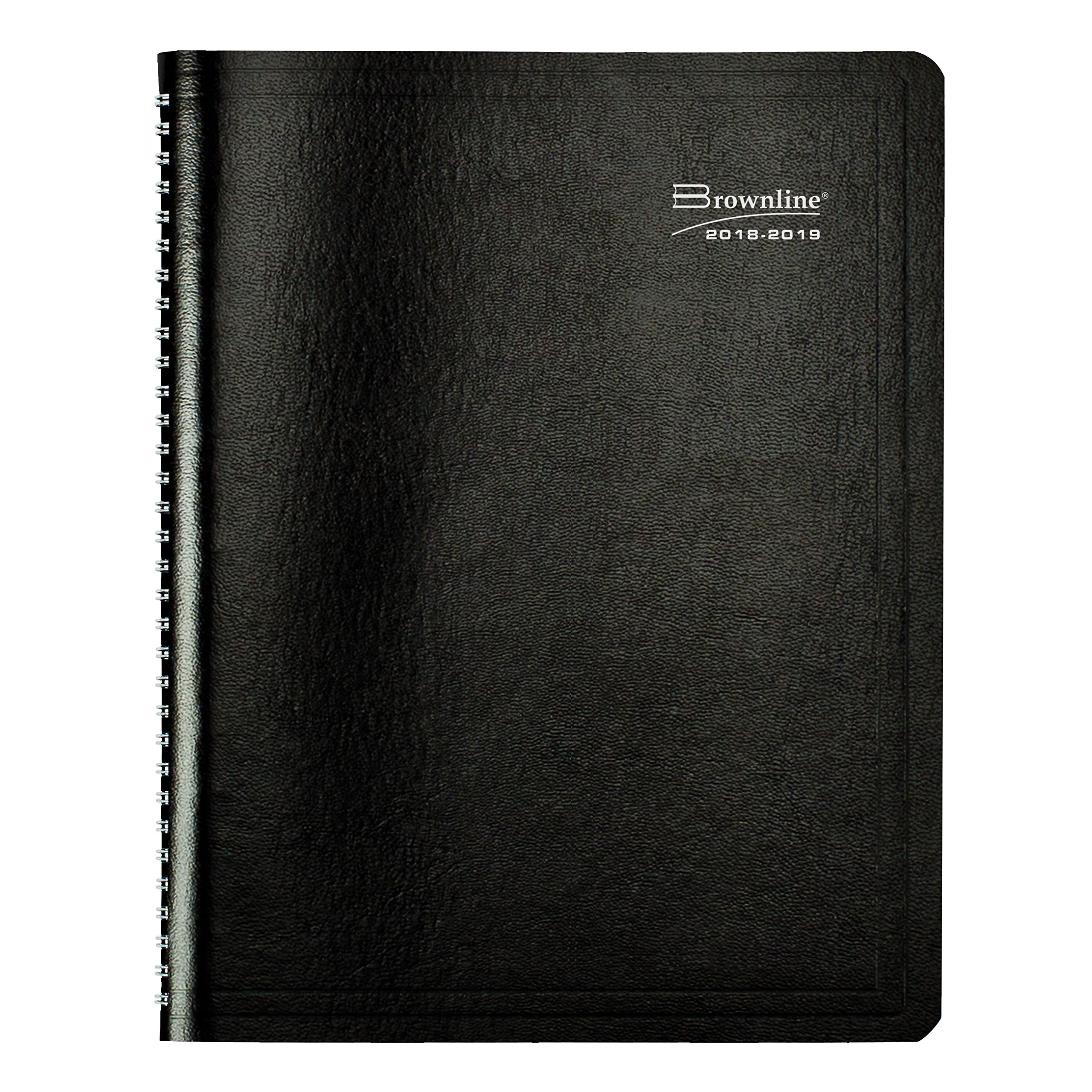 Brownline 2018-2019 Monthly Academic Planner, 11 x 8.5 inches, Month to View Diary, July 2018 to August 2019, 14 Months, Black (CA701.BLK-19)
