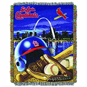 """Officially Licensed MLB Home Field Advantage Woven Tapestry Throw Blanket, Soft & Cozy, Washable, Throws & Bedding, 48"""" x 60"""""""