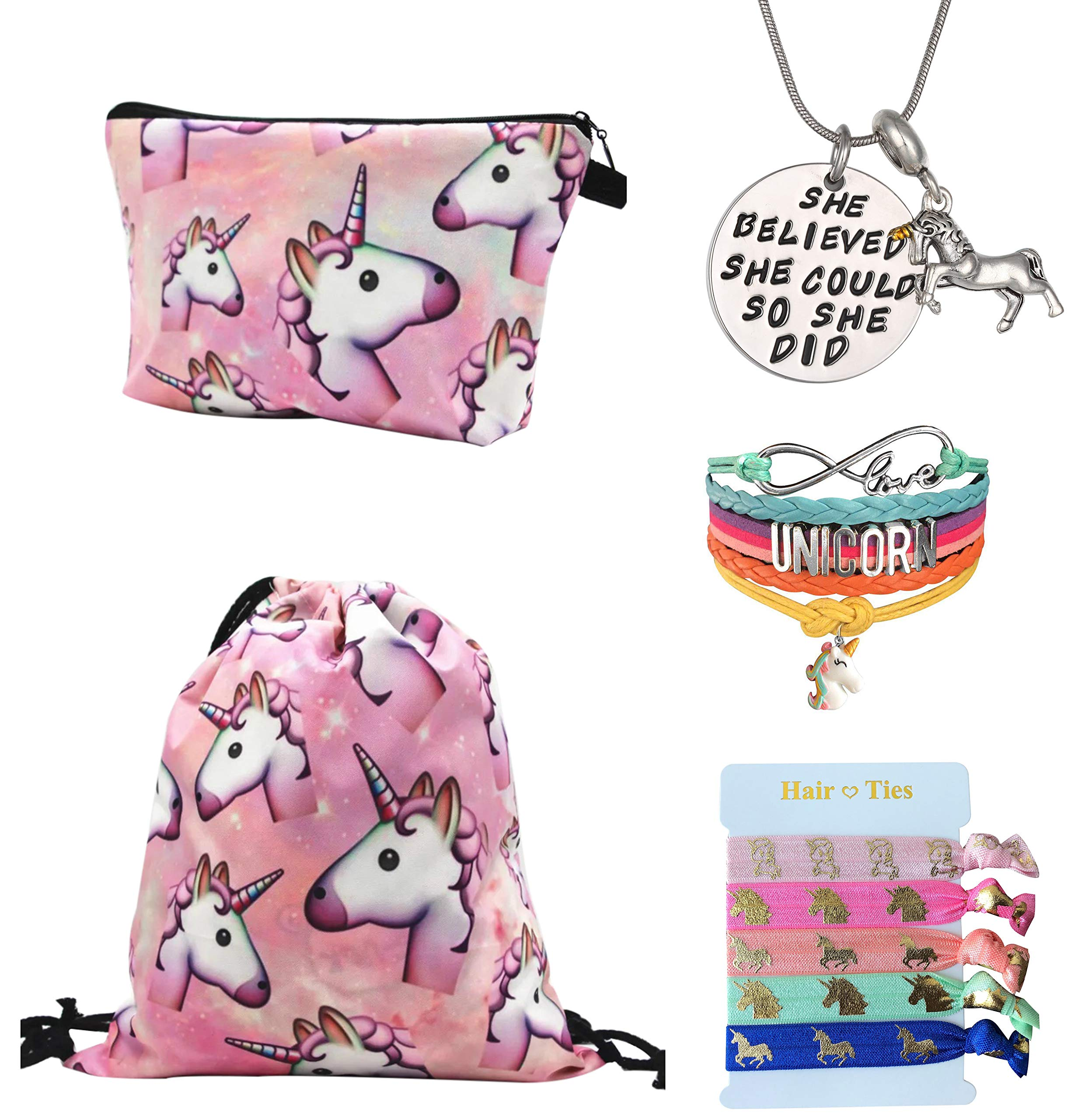 Unicorn Gifts for Girls 5 Pack - Unicorn Drawstring Backpack/Makeup Bag/Bracelet/Inspirational Necklace/Hair Ties (Pink)