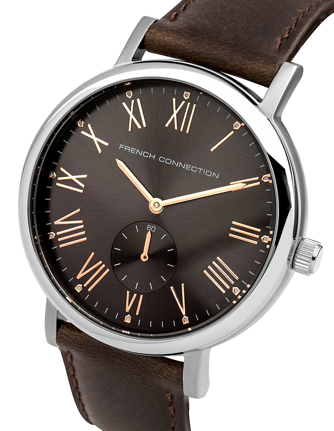 Amazon.com: French Connection Mens Harley Classic Quartz Metal and Leather Watch, Color:Brown (Model: FC1259T): Watches