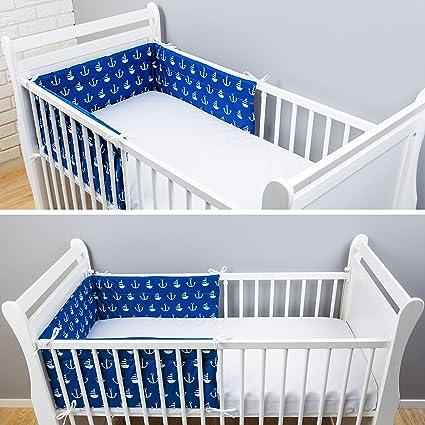 dise/ño de anclas grandes color azul Talla:180x30cm Amilian Protector de cabeza para bordes de cuna 420 x 30 cm, 360 x 30 cm, 180 x 30 cm