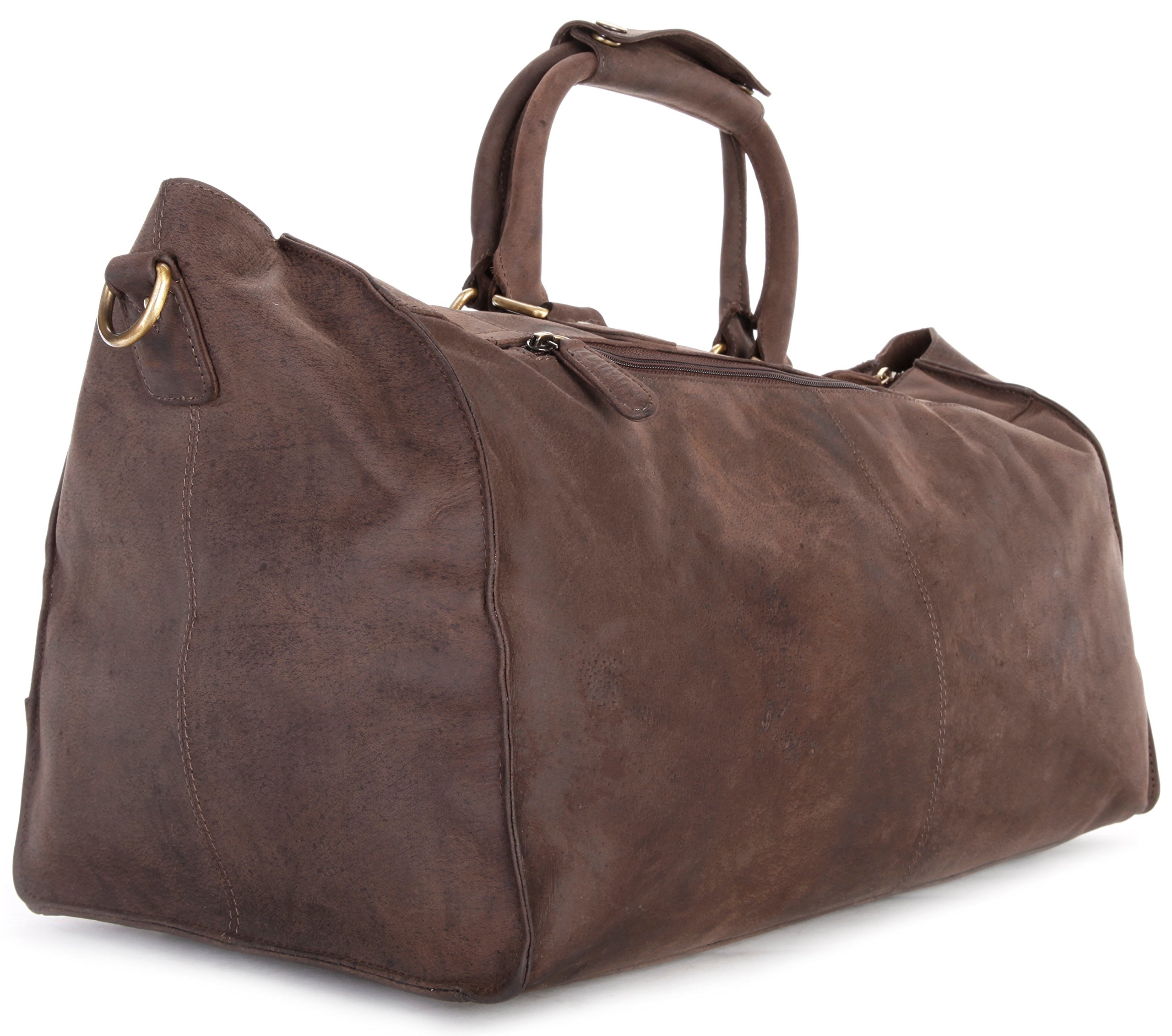 LEABAGS Durham genuine buffalo leather duffle bag in vintage style - Nutmeg by LEABAGS (Image #5)