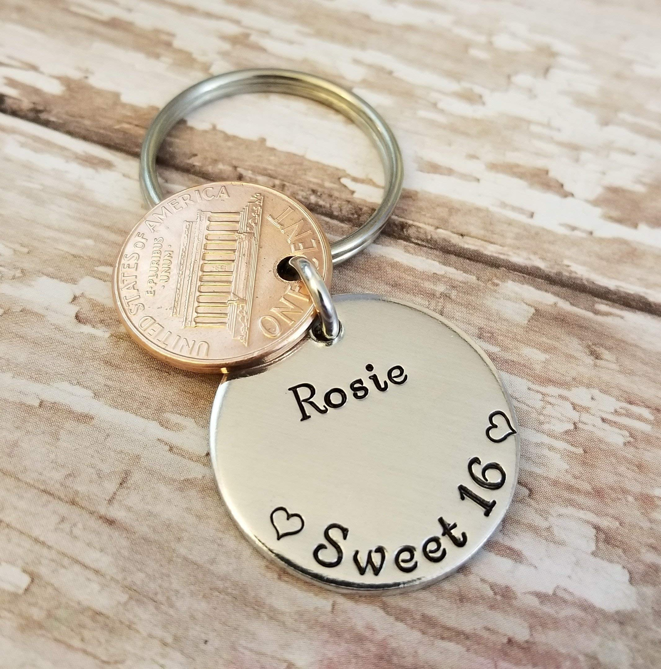 Sweet 16 Happy 16th Birthday Lucky 2002 Copper Penny Key Chain