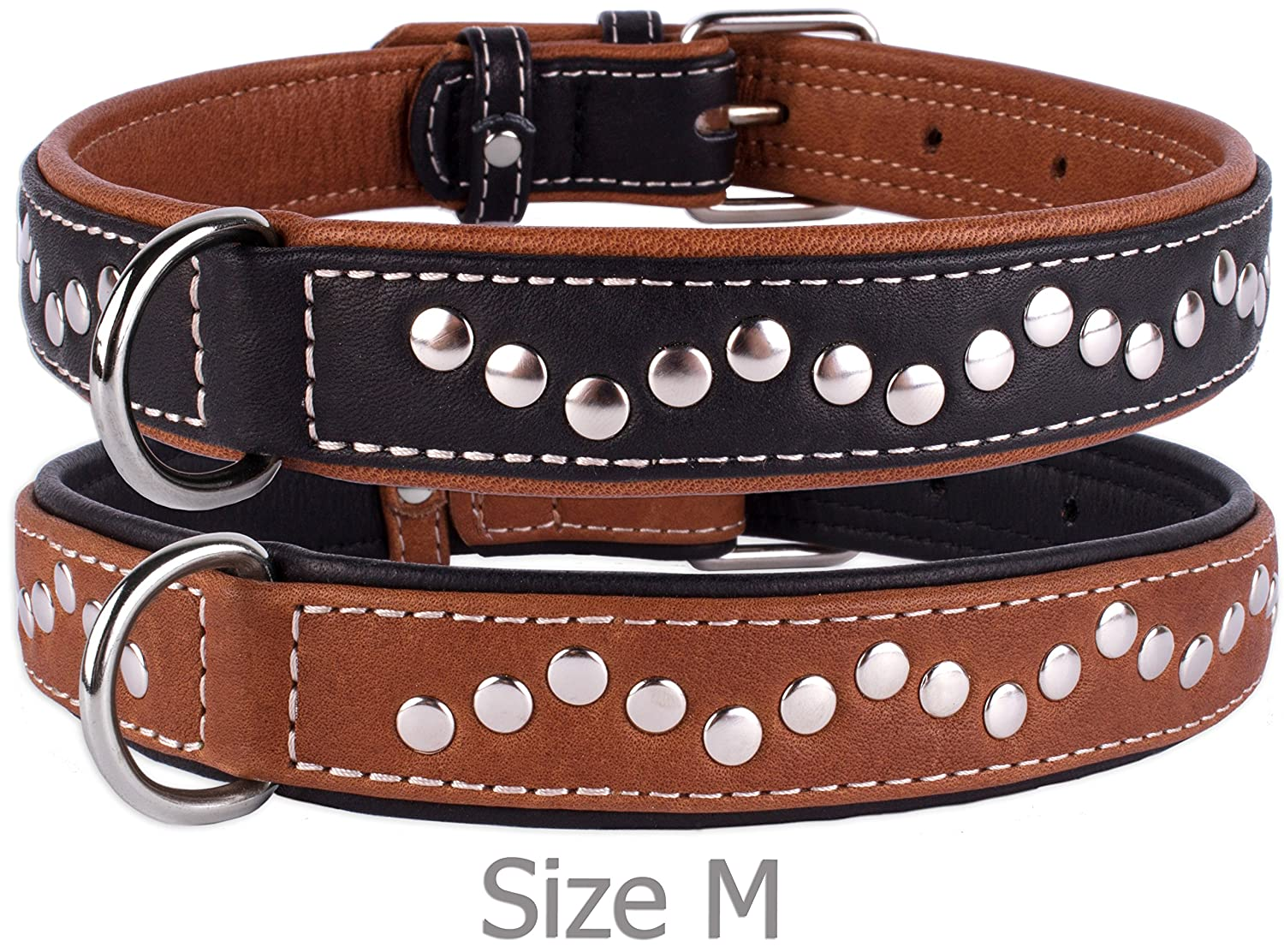 Black Neck fit 17\ Black Neck fit 17\ CollarDirect Handmade Studded Dog Collar, Genuine Leather Collar for Dogs, Soft Padded Leather Puppy Collar Brown Black Small Medium (Black, Neck fit 17  19 )