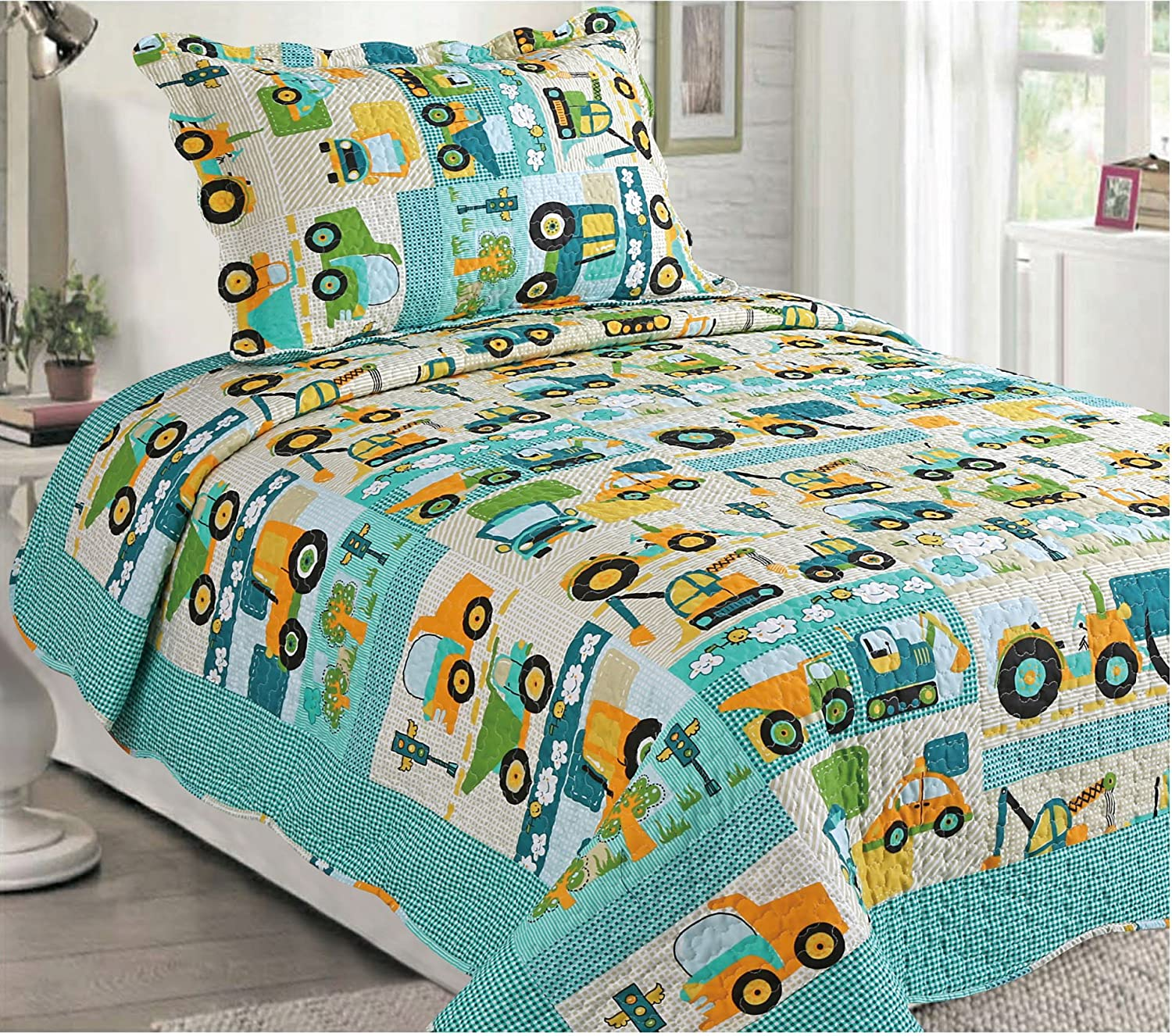 2 Piece Multicolor Construction Tractor Cars Kids Quilt Bedspread Coverlet Set