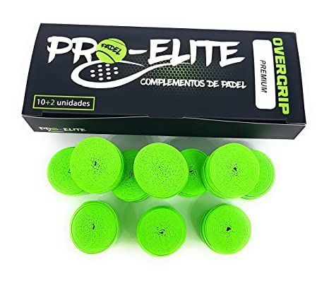 overgrips Pro Elite Premium Liso Verde Flúor. Caja 10+2 unds.: Amazon.es: Deportes y aire libre