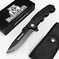 BearCraft Cuchillo Plegable Negro Mate con ** eBook