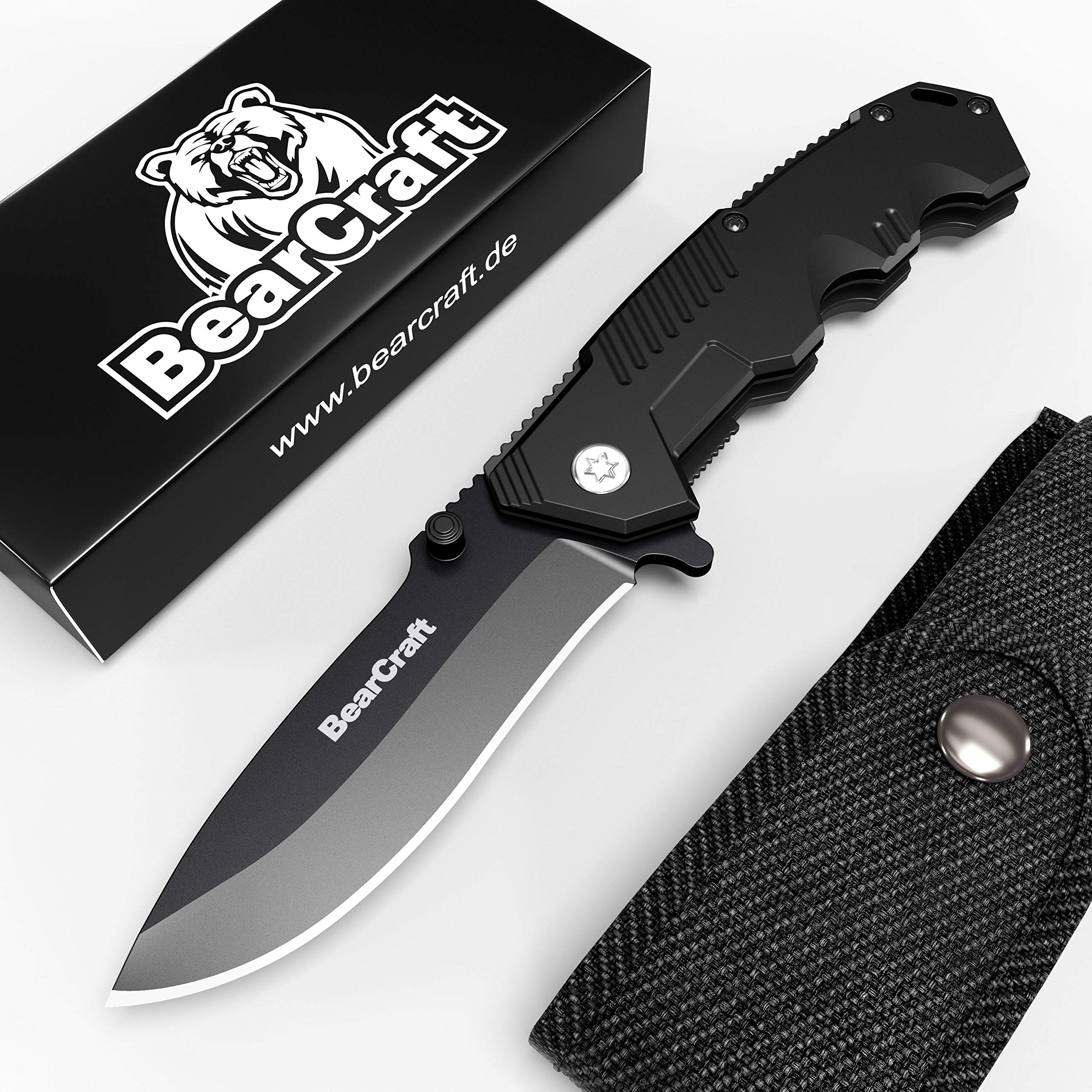 BearCraft Folding Knife in Matt Black inclusiveFREE eBook | Outdoor Survival Pocket Knife | Small one-Hand Knife with Stainless Steel Blade and Aluminum Handle| Perfect for Work Hiking Camping by BearCraft (Image #3)