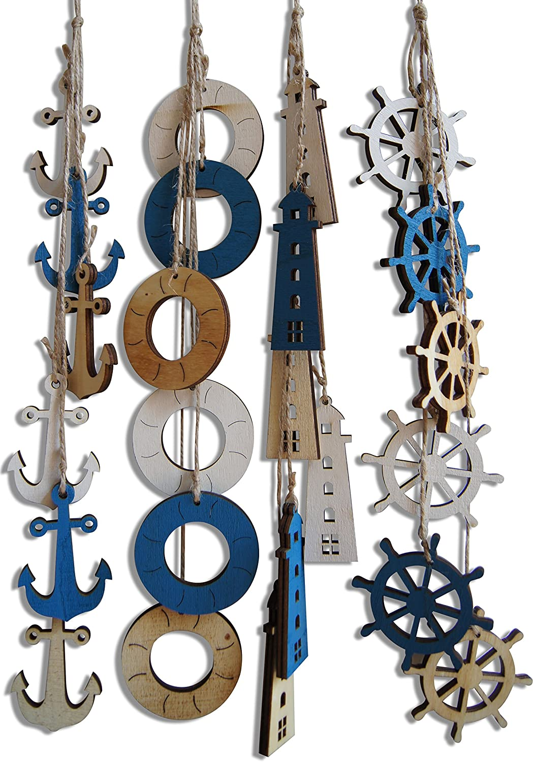 Shoreside Nautical Beach House Themed Decor Hangings with Tri-Color Anchors, Lighthouses, Captain's Wheel and Life Rings (4 Pieces)