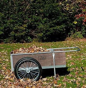 Garden Cart with Pneumatic Wheels - Medium Size (Wood/Steel) (20 1/4