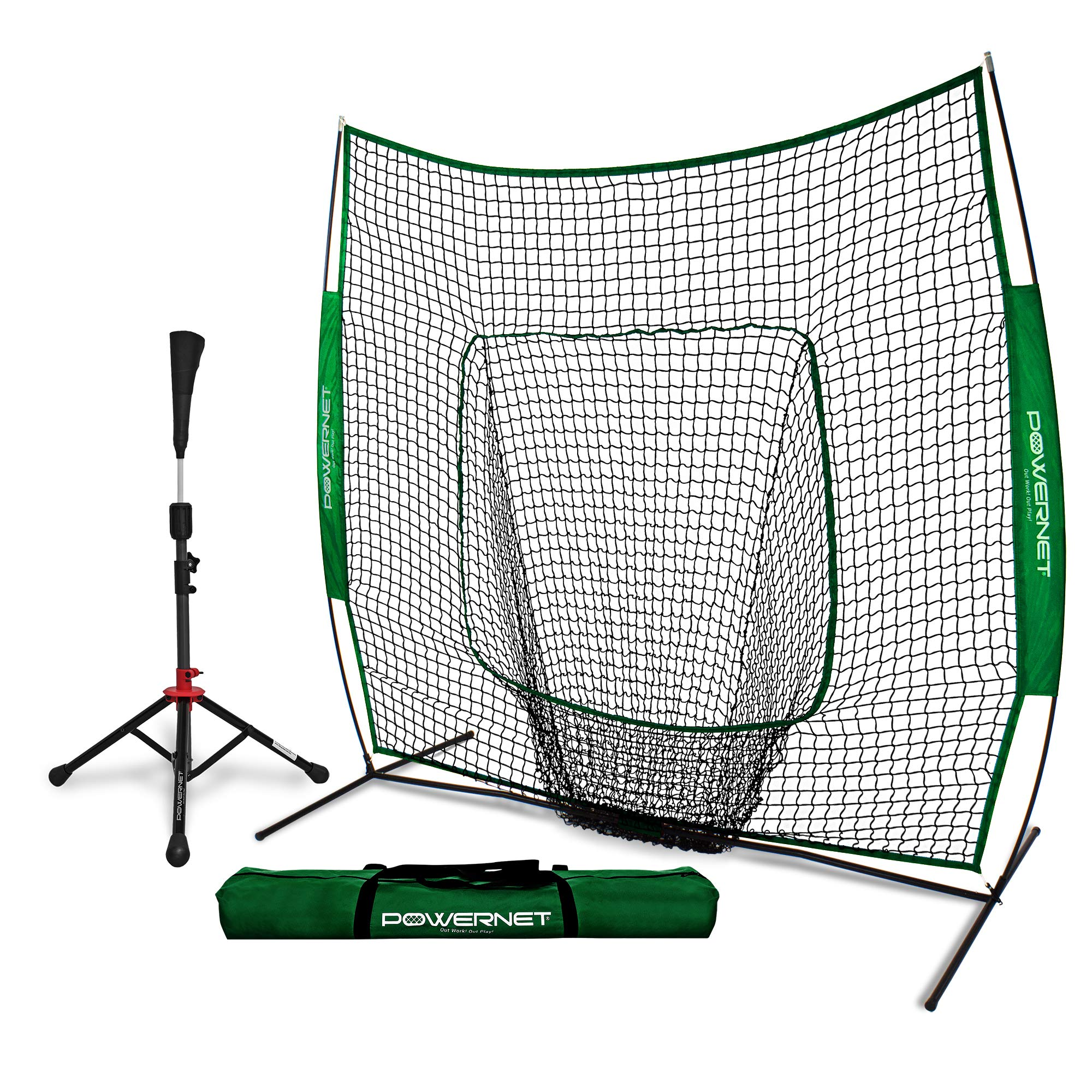 PowerNet Baseball Softball Practice Net 7x7 with Deluxe Tee (Green) | Practice Hitting, Pitching, Batting, Fielding | Portable, Backstop, Training Aid, Bow Frame | Training Equipment Bundle by PowerNet