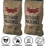 Profi Steakhouse Holzkohle | Quebracho Blanco Premium Restaurant Grillkohle | Extra lange Brenndauer, heiße Glut und schnelles Anzünden | Sehr große Kohlestücke | Reißfester Gewerbebeutel | 2x15 Kg