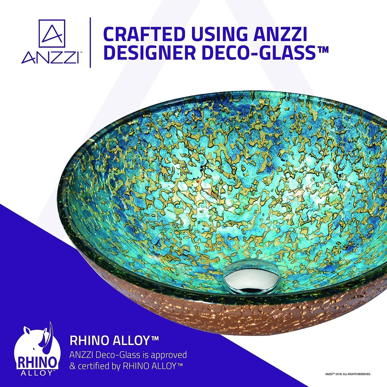 Top Mount Bathroom Sinks Above Counter Round Vanity Countertop Sink Bowl with Pop Up Drain ANZZI Stellar Series Modern Tempered Glass Vessel Bowl Sink in Blue Blaze LS-AZ161