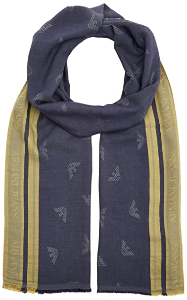 b0d13fdcca Armani Exchange Men's Viscose Fabric Scarf with Eagle Logo, Navy ...