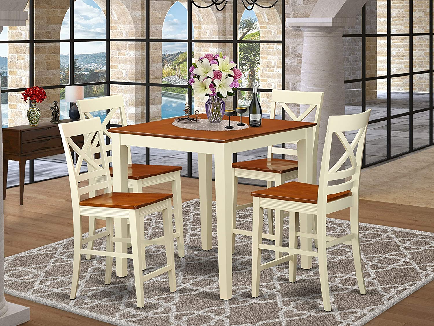 PC Dining counter height set - Dining Table and 4 bar stools.