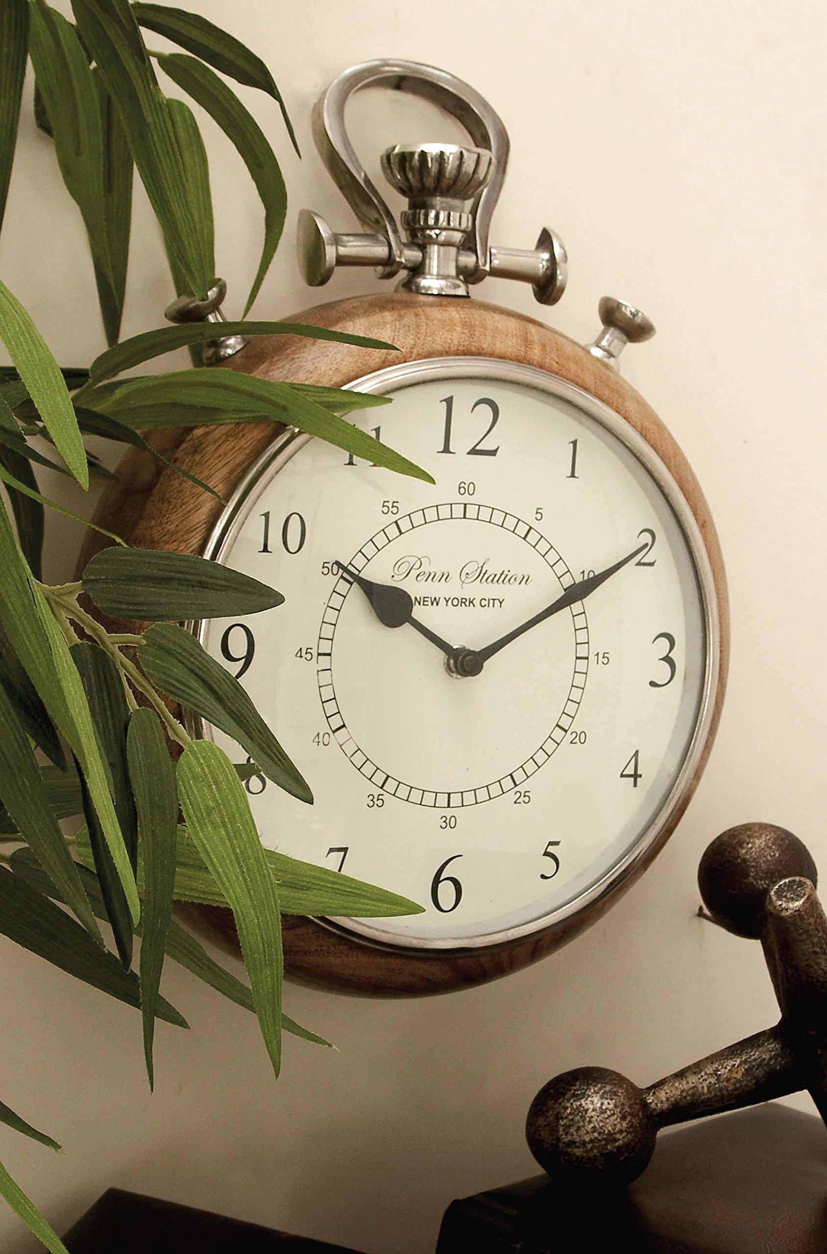Deco 79 40626 Wood Metal Wall Clock 10'' W, 14'' H