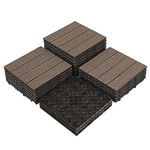 """PANDAHOME 22 PCS Deck & Interlocking Flooring Tiles, 12""""x12"""", Wood-Plastic Composite Patio Tiles, Water Resistant for Indoor & Outdoor, 22 sq. ft - Coffee Wood Grain"""