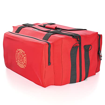 Fire Medic Gear Bag – Reinforced, Water Resistant, Deluxe Step-in Duffle Turnout Firefighter Emergency Response EMT E.M.S Padded Shoulder Strap Three Large Compartments – Maltese Cross By Med-Tech