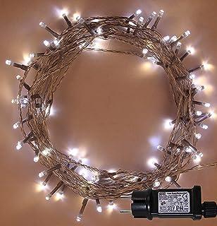 LED Lichterketten 100 LED Helle Wei/ße Baum-Lichter Innen Weihnachts Netzbetriebene feenhafte Lichter 10m Lit-L/änge KLARES KABEL und im Freiengebrauch Weihnachtsschnur-Lichter Ged/ächtnisfunktion