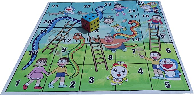 Atpata Funky 25 Blocks 5x5 Feet Snakes & Ladders (Doraemon Theme) with 6inch Dice