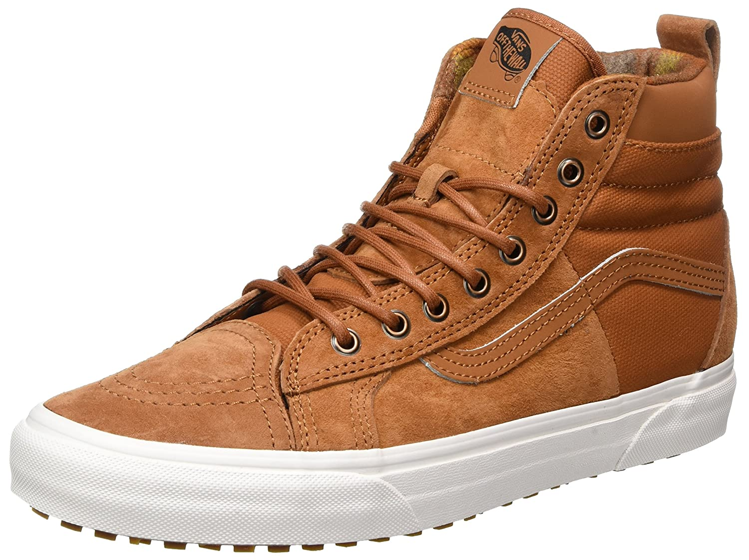 Vans Sk8-Hi Unisex Casual High-Top Skate Shoes, Comfortable and Durable in Signature Waffle Rubber Sole B01MYZ1W6O 8.5 Women / 7 Men M US|Glazed Ginger/Flannel