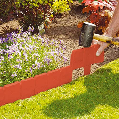 Parkland 10 Pack Terracotta Cobbled Stone Effect Garden Lawn Edging Plant  Border   Simply Hammer In