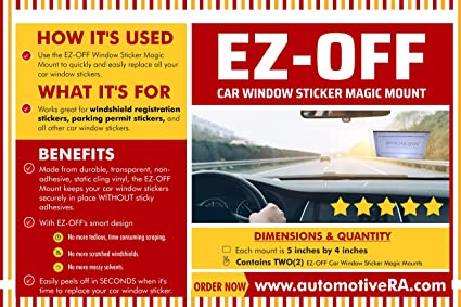 Ez off car window sticker magic mount