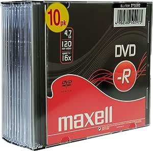 Maxell DVD-R 4.7GB 10 Pack - DVD+RW vírgenes (4.7 GB, DVD-R, 120 min, Caja de CD): Amazon.es: Electrónica