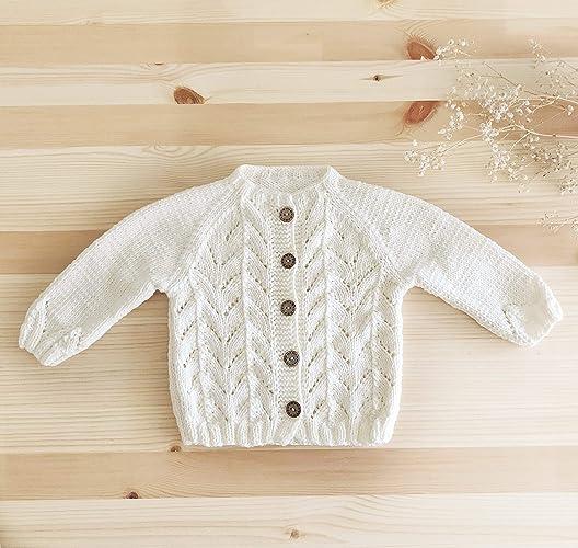 c22af35d4 Amazon.com  Handmade Baby Cardigan - GOTS Organic Cotton - Elisa ...