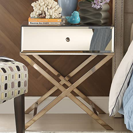 Plated Mirror End Table With Drawer, Champagne Gold   X Designed Table Base   