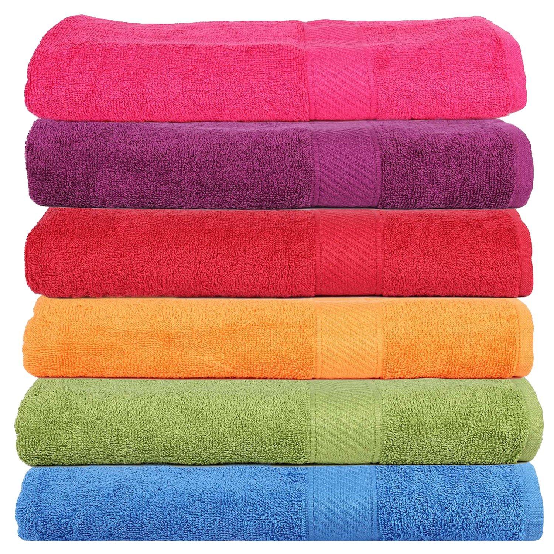 Trident 400 GSM 6 Pieces Bath Towels Combo Set - Multicolor