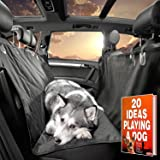 Gudaco Premium Pet Car Seat Cover secures your rear seats, 54 x 58 inches Black Nonslip WaterProof Dog Car Seat Cover for Cars, Trucks, SUVs, Car Hammock or Bench for Backseats, Dog Safety Belt in set