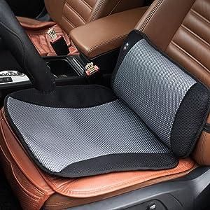 VIKTOR JURGEN Adjustable Vibration Massage Lumbar Pillow Back Support and Car Seat Cushion Massager with Breathable