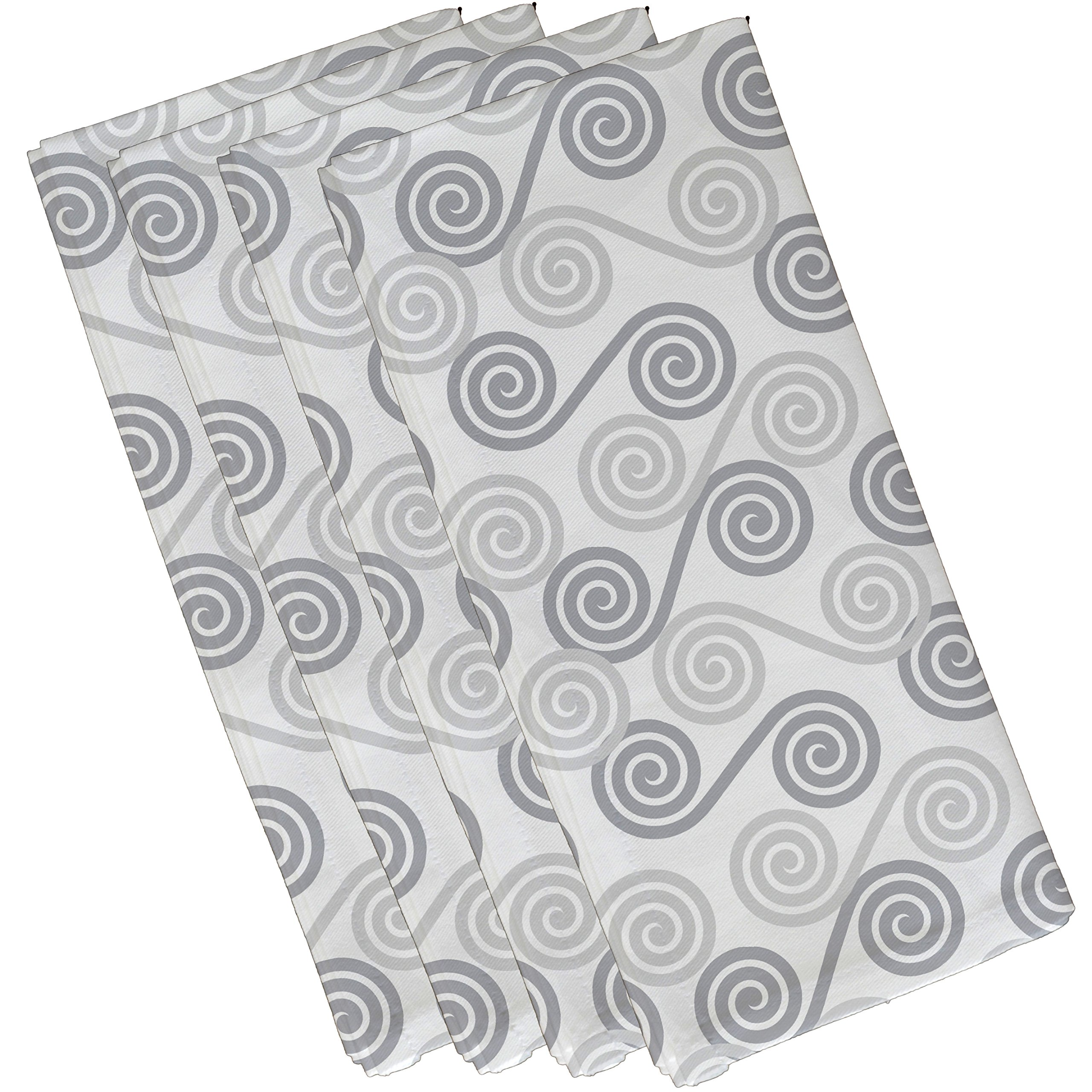 E by design N4G770GY1 Rip Curl Geometric Print Napkin (Set of 4), 19'' x 19'', Gray