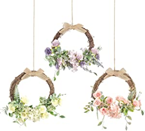 HEBE Floral Hoop Wreath Set of 3 Artificial Rose Hydrangea Flowers with Eucalyptus Garland Hanging Ring Wreath Wedding Wreaths for Nursery Bridal Wall Decor