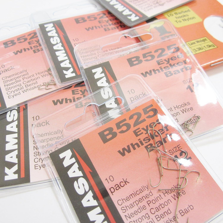 Kamasan B525 Eyed Barbed Hooks ALL SIZES