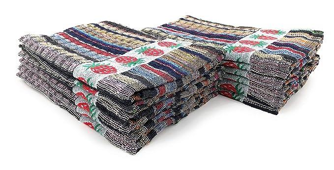 ZD Paños de Cocina Rizo 100% Algodón con Dibujo Bordado, Pack 12 Toallas de Cocina (1107): Amazon.es: Hogar