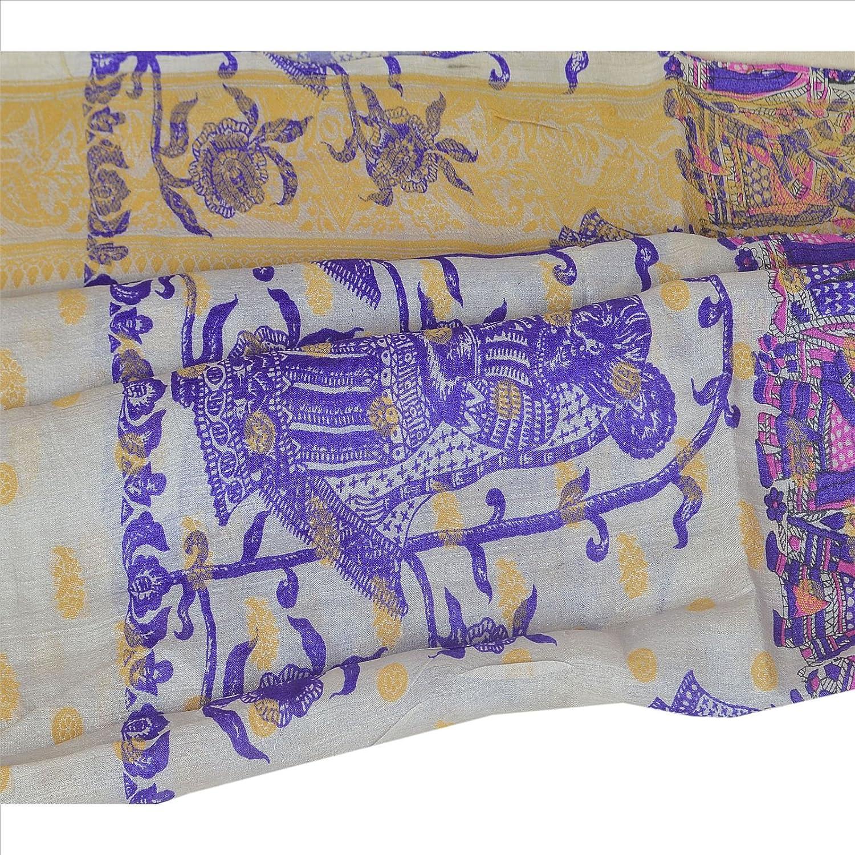 100% Pure Tassar Silk New Long Stole Dupatta Cream Printed Shawl Wrap Veil