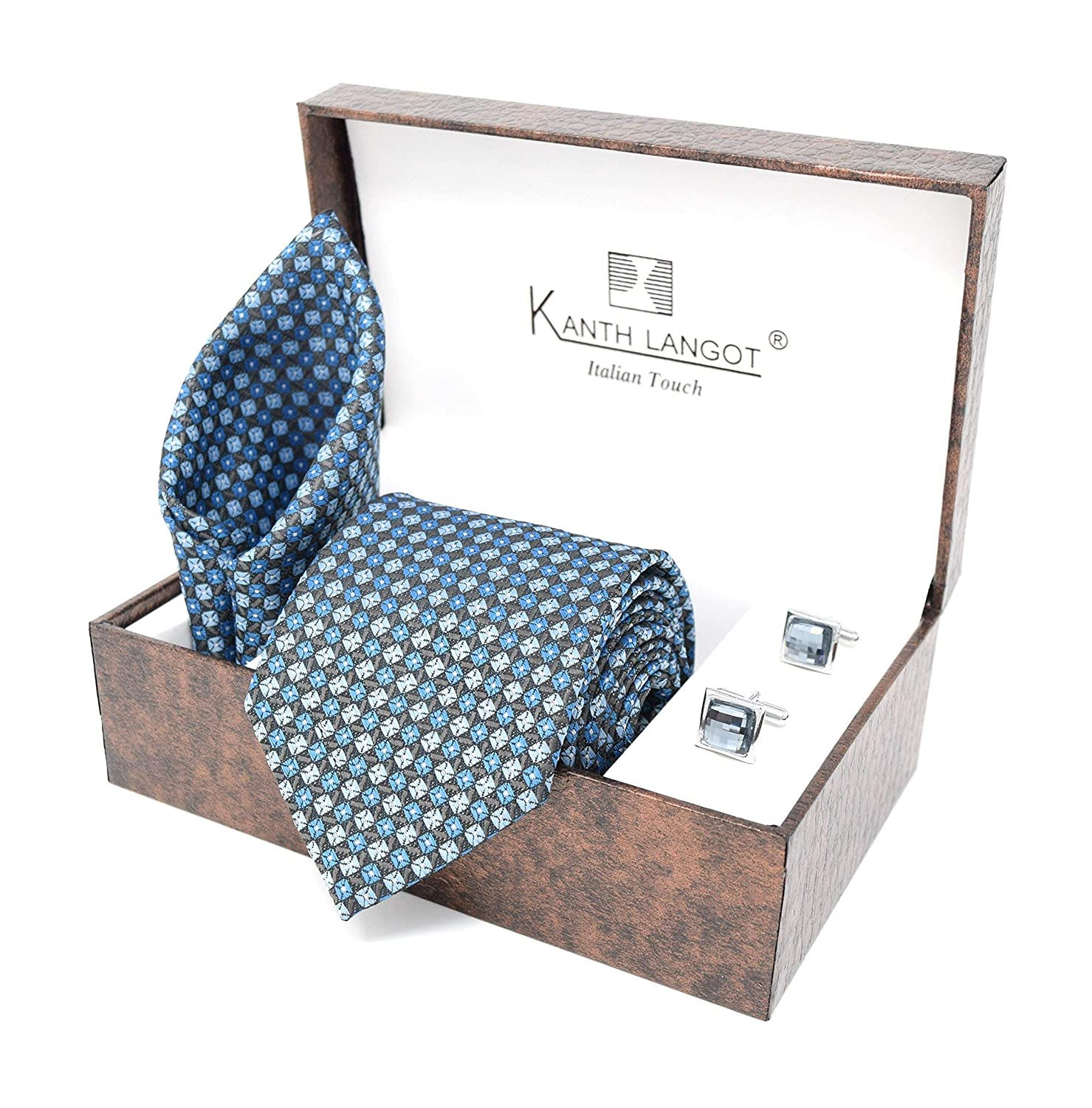 Kanthlangot Jacquard Blue Seld Design Tie Pocket Square And Crystal Cufflinks Set