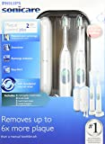 Philips Sonicare Plaque Control Plus Rechargeable Toothbrush HX6254/81 Twin Pack (2 Rechargeable Toothbrushes, 4 Brush Heads, 2 travel cases, and 2 Chargers)