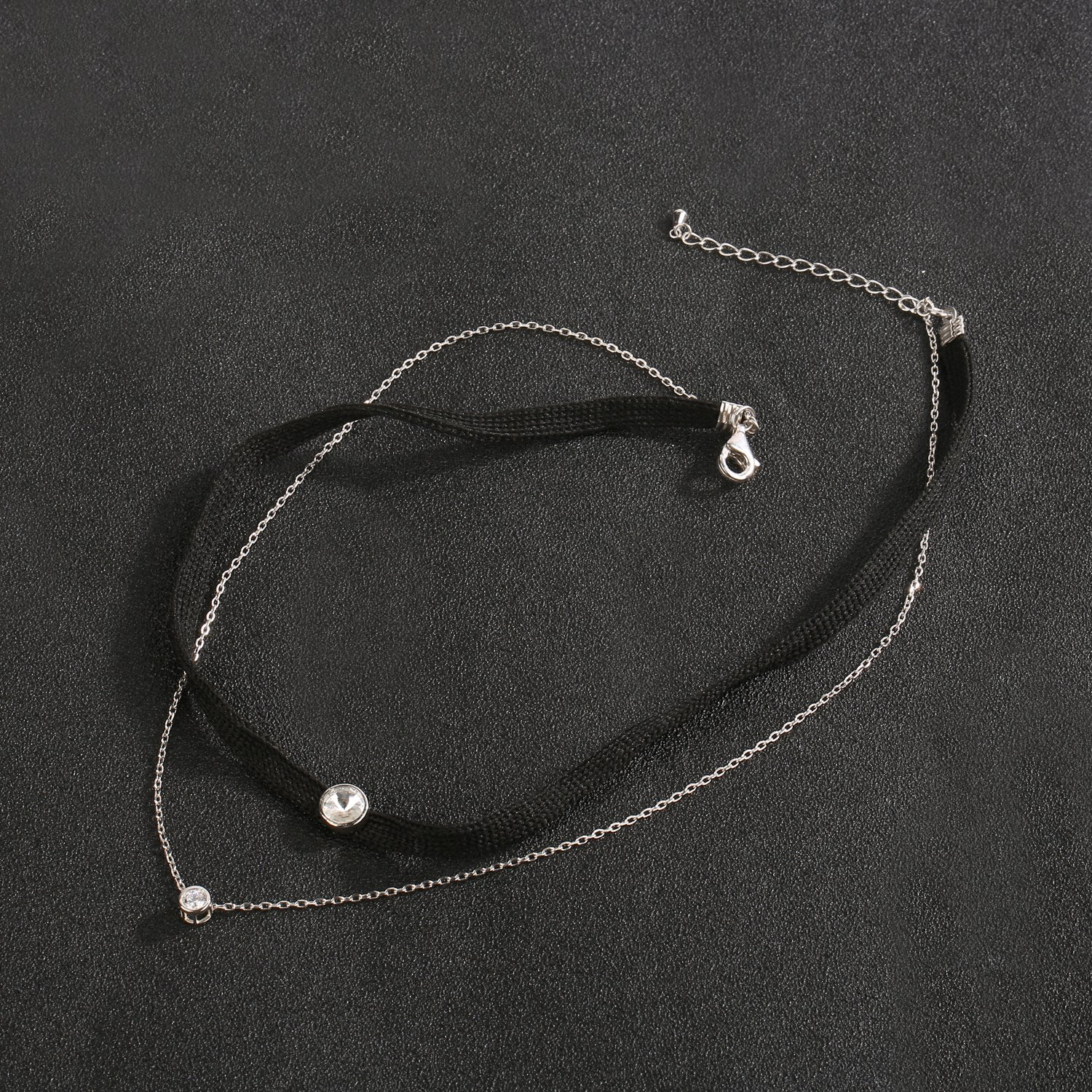 LOCHING Personality Elastic Black Cord Necklace Double Chain Necklaces Inlaid Zircon 925 Silver Double Collar Necklaces by LOCHING (Image #5)