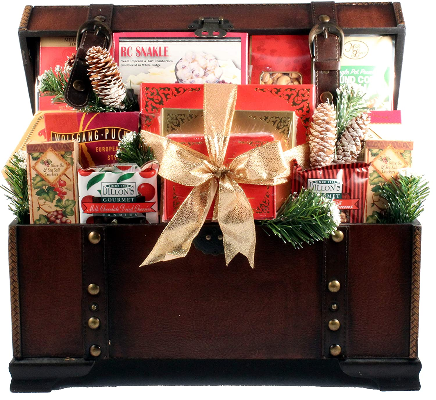 The V.I.P, Large Gourmet Gift Basket in Wooden Trunk with Chocolates, Cookies, Meats, Cheeses, Coffees, Candies, Cakes and Other Holiday Favorites (Medium), 32 Pounds