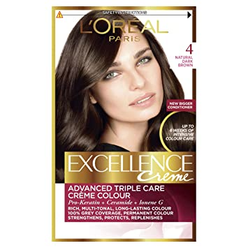 Loréal excellence creme 4 natural dark brown hair dye pack of