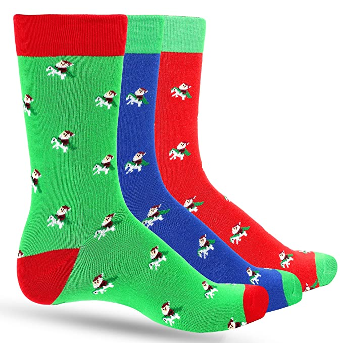 Mens Christmas Socks.3 Pack Fun Men S Christmas Dress Colorful Socks For Men Featuring Santa Riding Unicorn In Multiple Holiday Colors