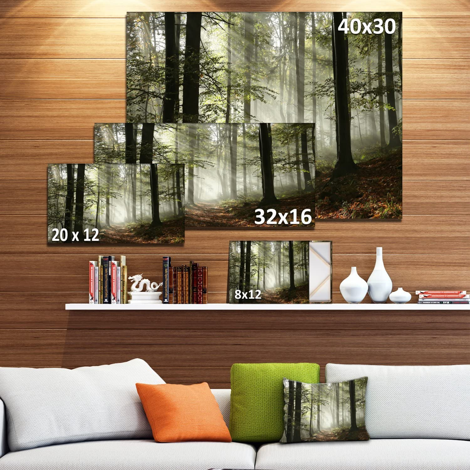 Amazon Com Light In Dense Fall Forest With Fog Landscape Art Print Canvas Posters Prints