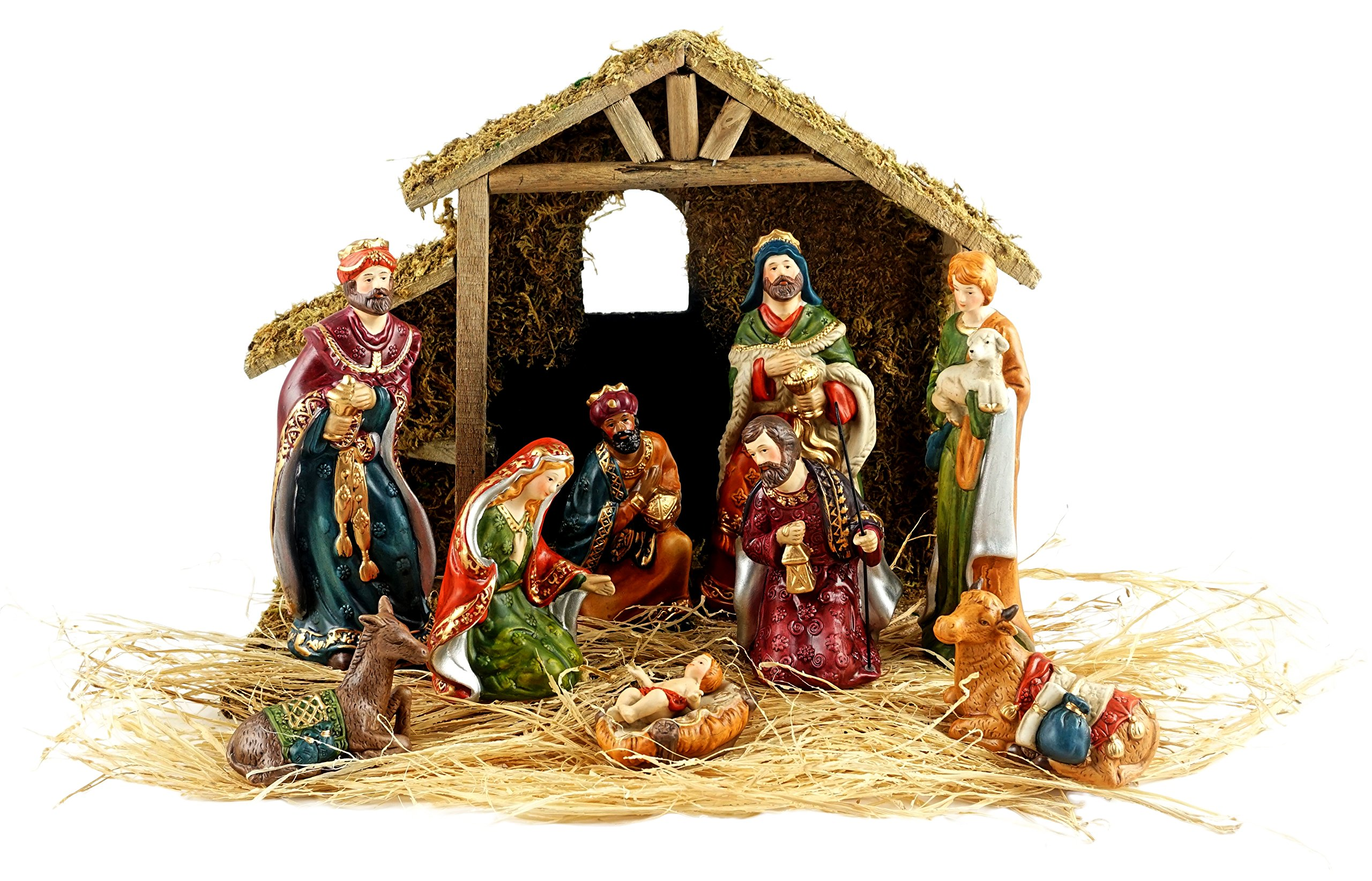 Party Explosions Holy Family 10-Piece Holiday Nativity Set with Stable and Hay