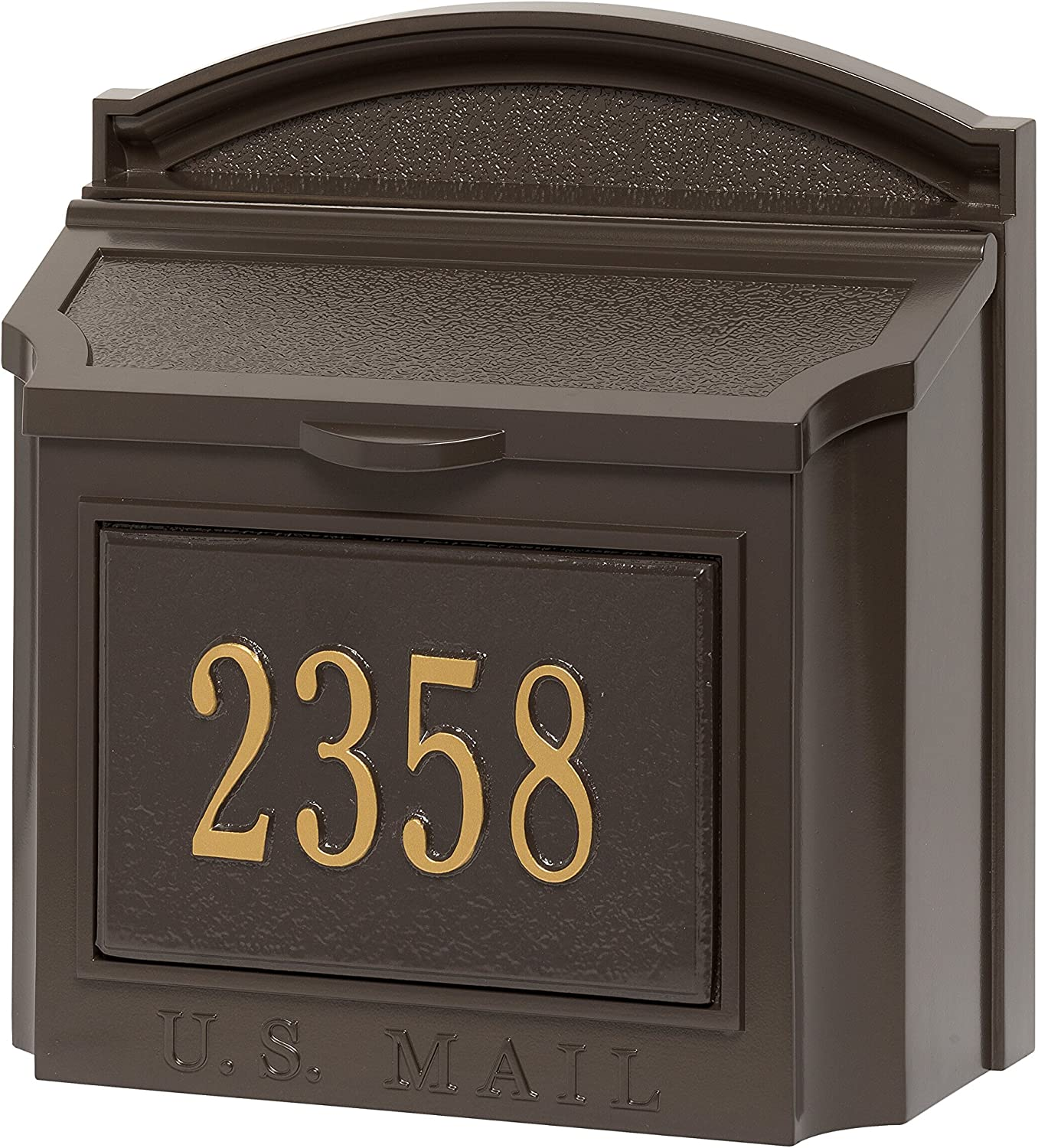 Wall Mounted Locking Mailbox (French Bronze) with Mailbox Number Plaque