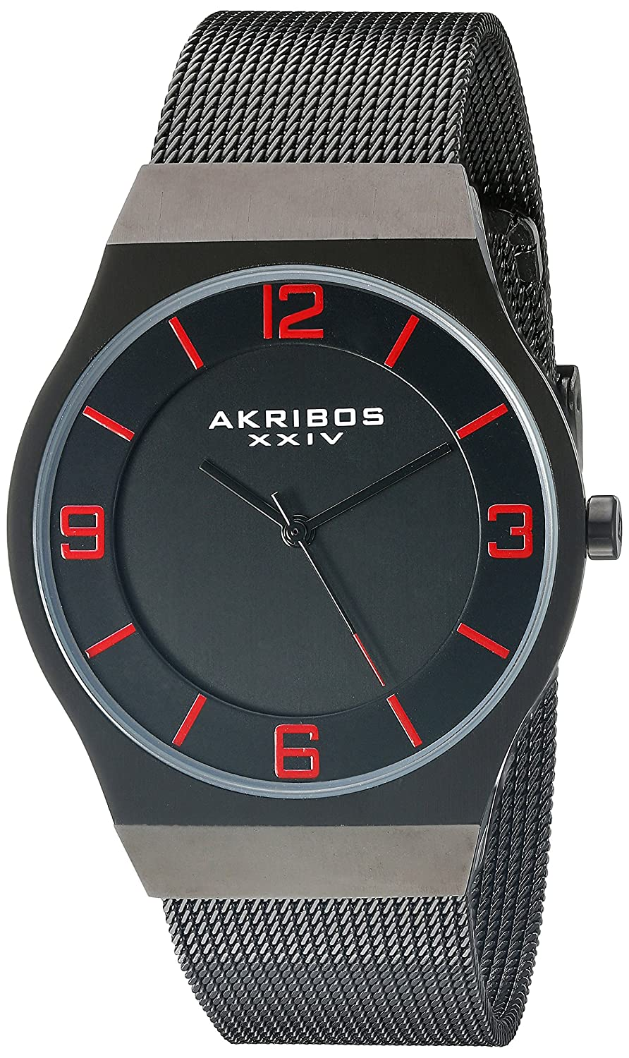 Akribos XXIV Men 's ak851bk Round Black Dial Three Hand Quartzブラックブレスレット腕時計 B013GEJ98A