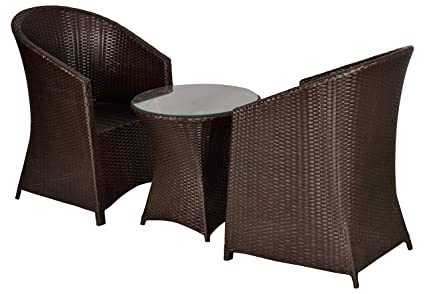 "FurniFutureâ""¢ Jumbo Outdoor Patio Furniture Set 2+1 - (Brown)"