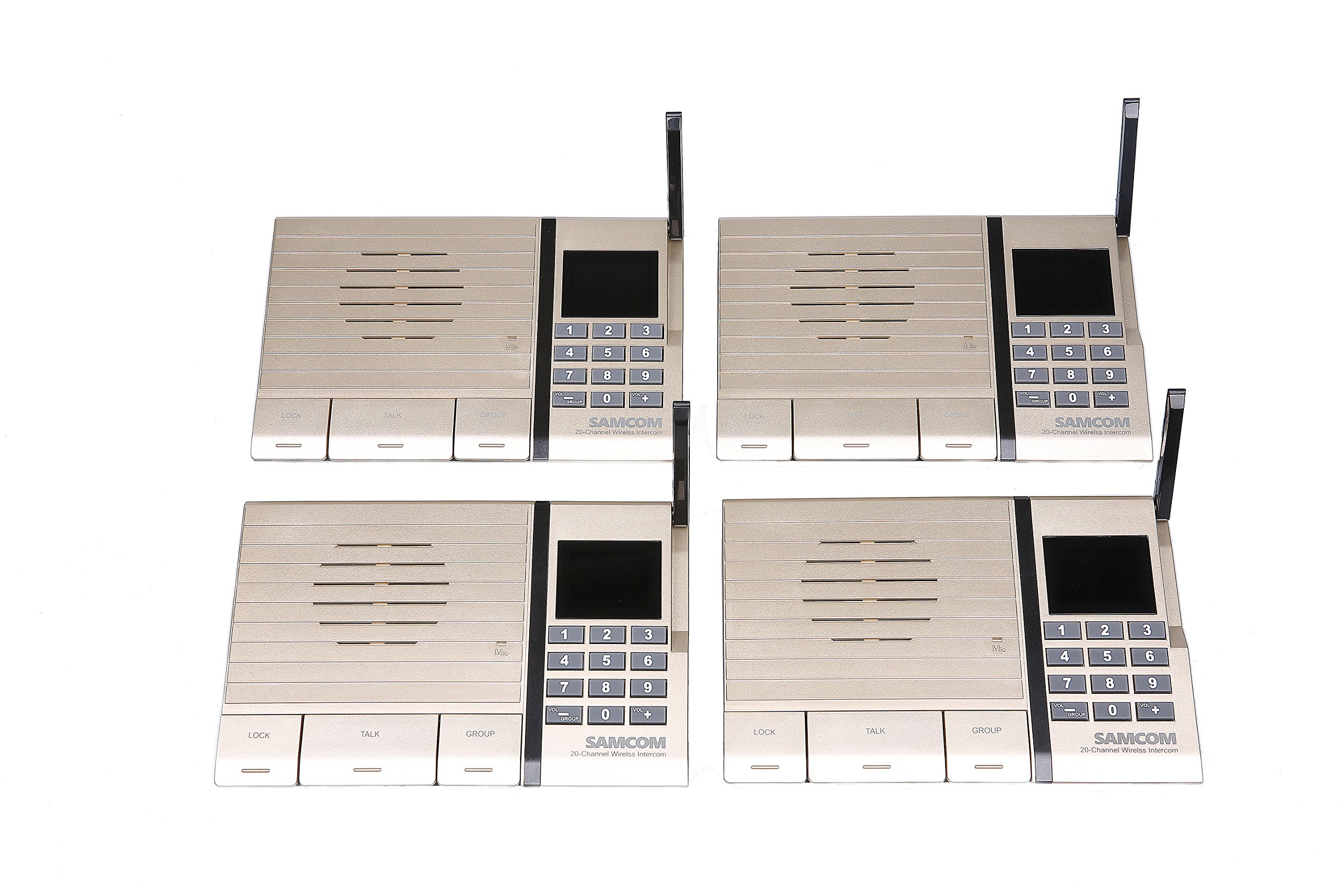 Samcom 20-Channel Digital FM Wireless Intercom System for Home and Office(Gold, Pack of 4)